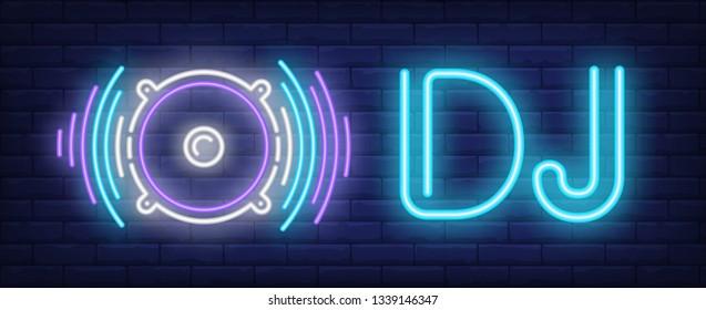 DJ neon text with audio speaker. Disco, entertainment, advertisement design. Night bright neon sign, colorful billboard, light banner. Vector illustration in neon style.
