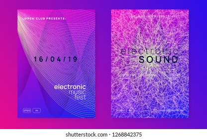 Dj party. Bright show banner set. Dynamic gradient shape and line. Neon dj party flyer. Electro dance music. Techno trance. Electronic sound event. Club fest poster.