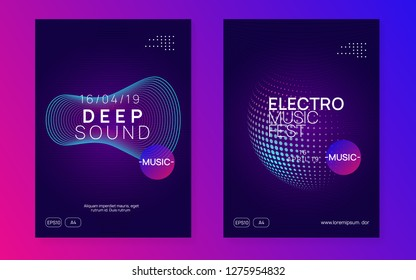 Dj party. Dynamic gradient shape and line. Bright concert brochure set. Neon dj party flyer. Electro dance music. Techno trance. Electronic sound event. Club fest poster.