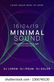 Dj party. Dynamic gradient shape and line. Futuristic discotheque banner template. Neon dj party flyer. Electro dance music. Techno trance. Electronic sound event. Club fest poster.