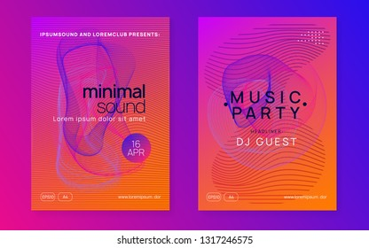 Dj party. Trendy concert invitation set. Dynamic gradient shape and line. Neon dj party flyer. Electro dance music. Techno trance. Electronic sound event. Club fest poster.
