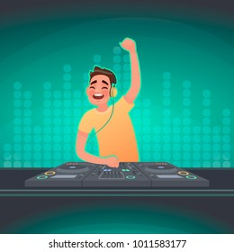 DJ plays music at the turntable. A party in a nightclub. Vector illustration in cartoon style