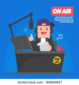 Dj at radio station - Disc jockey - vector