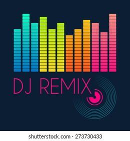 dj remix typography, t-shirt graphics. vector illustration.