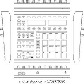 Dj sampler machine. Drum Machine Sampler line vector. Digital music equipment