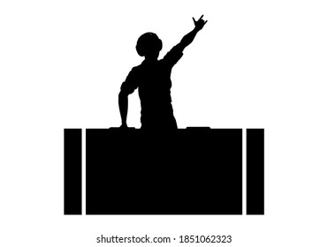 DJ silhouette. A man is wearing headphones and mixing music on a player or console. Party and disco design element. Vector illustration.