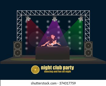 DJ woman on the stage behind the board. vector illustration.