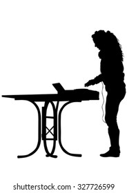 DJ women at music console on a white background