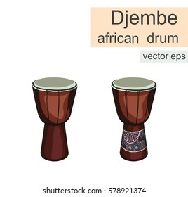 Djembe drum isolated on white background. African djembe goblet drum. Traditional africain instrument. Vector eps.