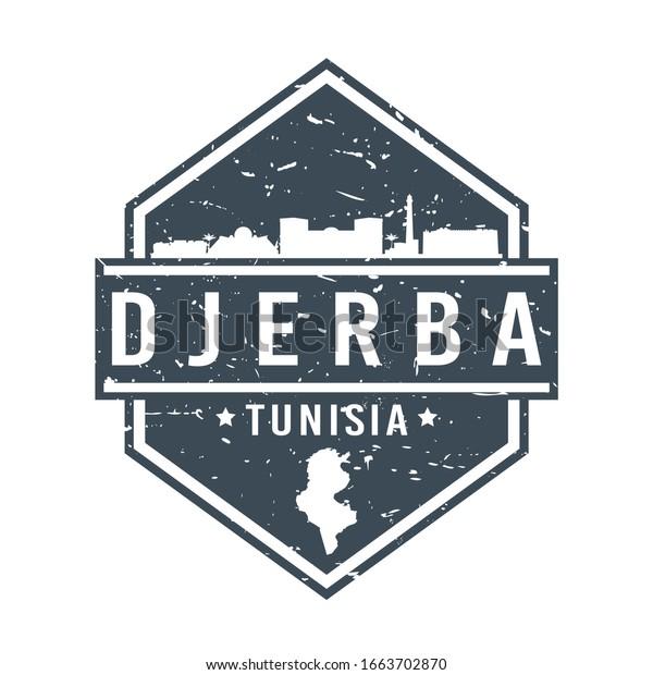 Djerba Tunisia Travel Stamp Icon Skyline Stock Vector Royalty Free 1663702870