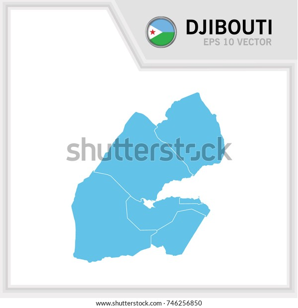 Djibouti map and flag in white background