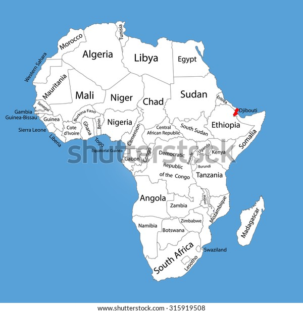 Djibouti Vector Map Silhouette Isolated On Stock Vector (Royalty ...