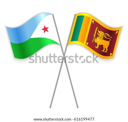 Djiboutian Sri Lankan Crossed Flags Djibouti Stock Vector (Royalty