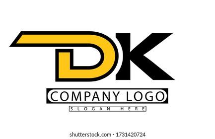 DK or D K letter initial logo design in vector illustration design