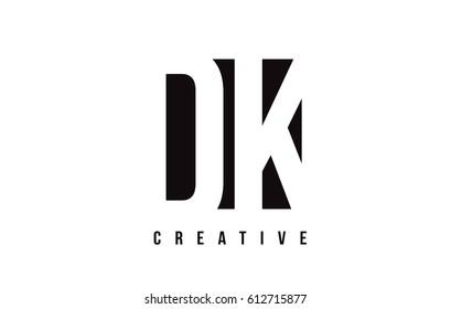 DK D K White Letter Logo Design with Black Square Vector Illustration Template.