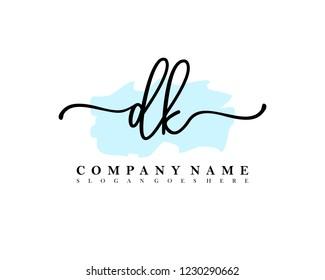 DK Initial handwriting logo vector