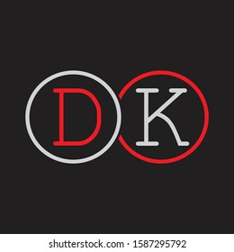 DK Initial letter linked circle capital monogram logo modern template