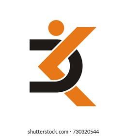 DK initial letter  logo as a stick figure design template vector