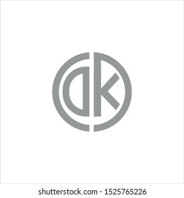 DK initial letters linked circle elegant logo with white background.