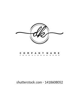 DK initial signature logo. handwriting logo template vector,