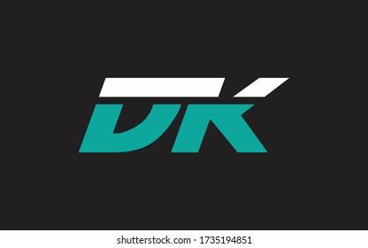 DK or KD Letter Initial Logo Design, Vector Template