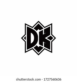 DK monogram logo with square rotate style outline design template