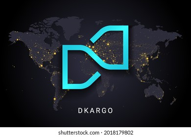 Dkargo crypto currency digital payment system blockchain concept. Cryptocurrency isolated on earth night lights world map background. Vector illustration