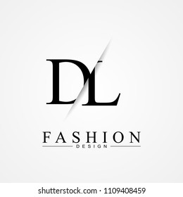 DL D L cutting and linked letter logo icon with paper cut in the middle. Creative monogram logo design. Fashion icon design template.