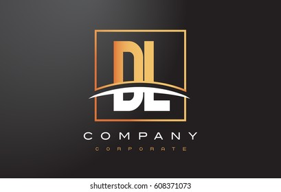 DL D L Golden Letter Logo Design with Swoosh and Rectangle Square Box Vector Design.