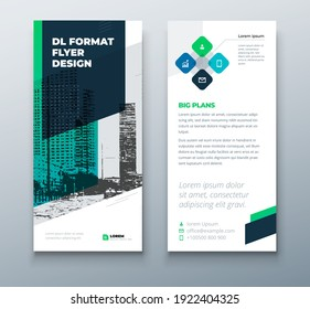 DL flyer design layout. Black Green DL Corporate business template for flyer. Layout with modern elements and abstract background. Creative concept vector flyer.