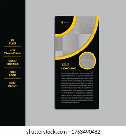 DL flyer design template. DL Corporate business template for flyer. Rack card Design. Layout with modern elements and abstract background. Creative concept vector flyer.