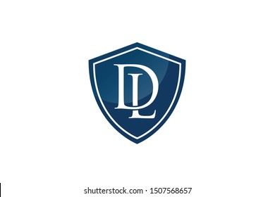 DL initial letters in shield logo design