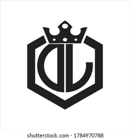 DL Logo monogram rounded by hexagon shape with crown design template on white background