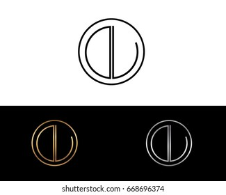 DL round circle shape initial letter logo