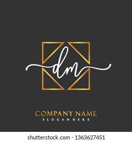 DM Initial Handwriting logo template vector