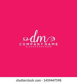 DM Initial handwriting logo vector