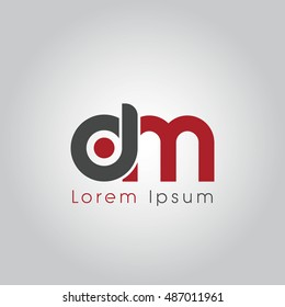 dm initial letter linked lowercase logo. d and m vector template design.
