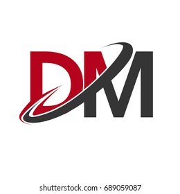 DM initial logo company name colored red and black swoosh design, isolated on white background. vector logo for business and company identity.