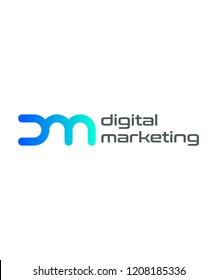 DM initial logo for digital company