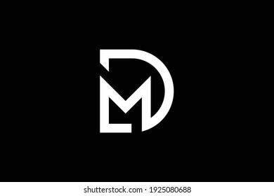 DM letter logo design on luxury background. MD monogram initials letter logo concept. DM icon design. MD elegant and Professional white color letter icon design on black background.