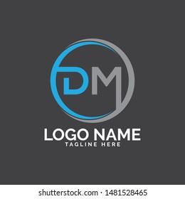 DM letter shape logo design