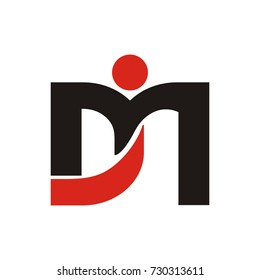 DM or MD initial letter as a figure logo design template vector