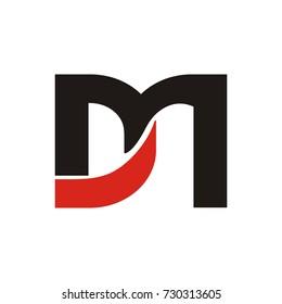 DM or MD initial letter logo design template vector