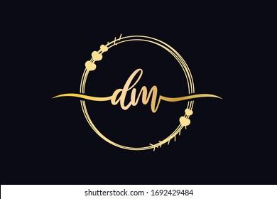 DM monogram, letter logo design, floral design element vector. Abstract letter DM MD. minimal logo design template. Vector letter logo with gold and black color.