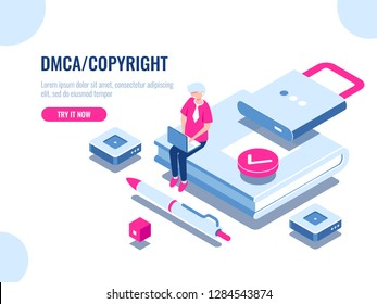 DMCA data copyright isometric icon, content security, book with lock, electronic digital contract, young man with laptop pc, flat cartoon vector illustration
