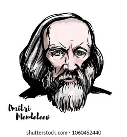 Dmitri Mendeleev watercolor vector portrait with ink contours. Russian chemist and inventor.
