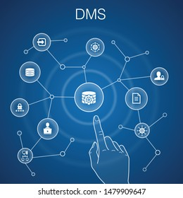 DMS concept, blue background.system, management, privacy, password icons