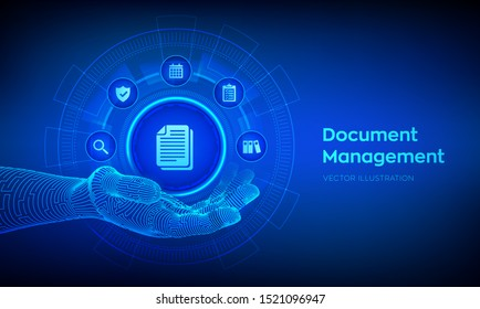 DMS. Document Management Data System. Document icon in robotic hand. Corporate data management system. Privacy data protection. Business Internet Technology Concept. Vector illustration.