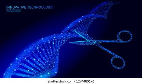 DNA 3D structure editing medicine concept. Low poly polygonal triangle gene therapy cure genetic disease. GMO engineering CRISPR Cas9 innovation modern technology science banner vector illustration