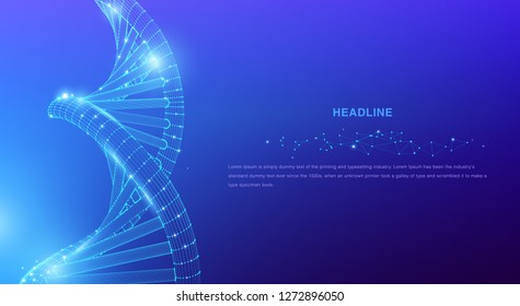 DNA. Abstract 3d polygonal wireframe DNA molecule helix spiral on blue. Medical science, genetic biotechnology, chemistry biology, gene cell concept vector illustration or background - Vector